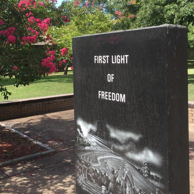 Freedmen's Colony marker outside visitor center