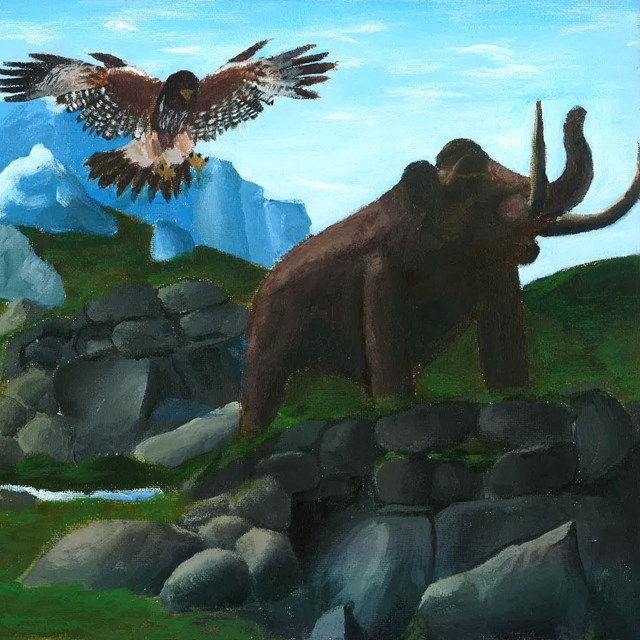 raptor and mammoth in alpine landscape