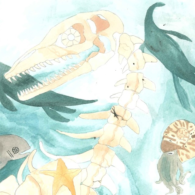 painting of undersea animals and fossil