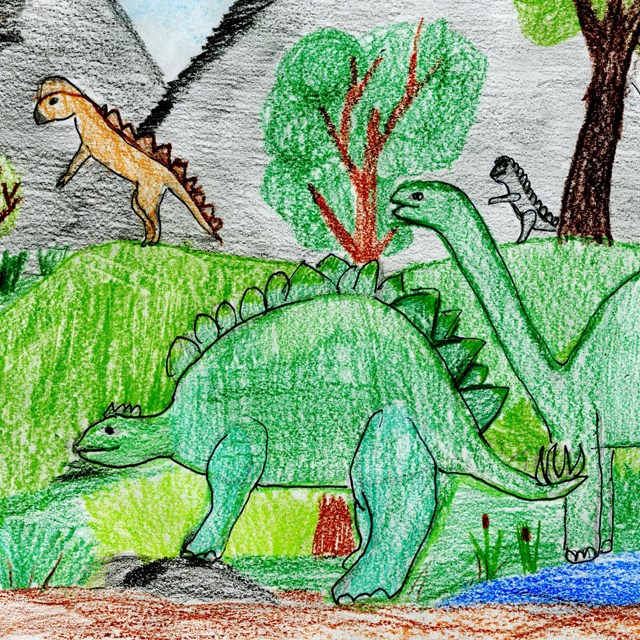 color drawing of dinosaurs