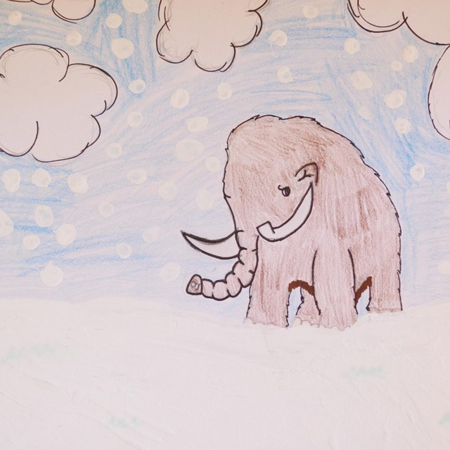 drawing of wooly mammoth in the snow