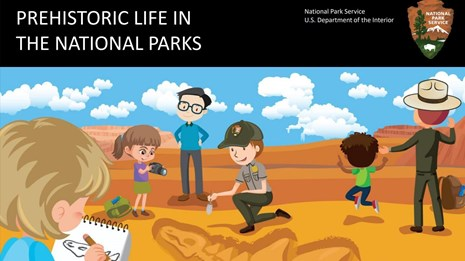 cover of coloring book with cartoon drawing of rangers and kids looking at fossils