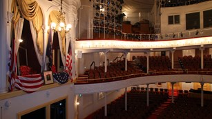 Interior of the Theatre looking into the audience with presidential state box on the left.