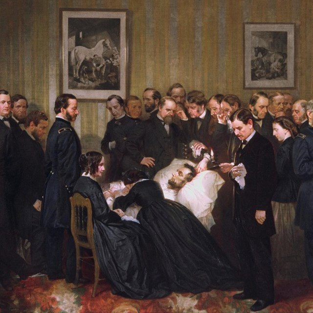 Color Engraving of dignitaries gathered around Lincoln's deathbed at the Petersen Boarding House.