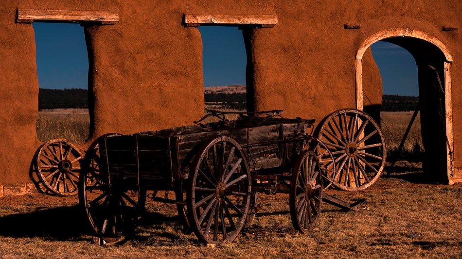 Wagon and adobe remnants