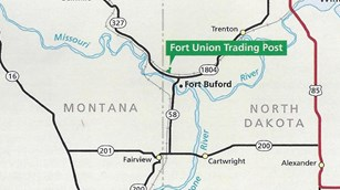 Line drawing road map, Fort Union In center, Williston, ND in top right, Sidney, ND bottom Left