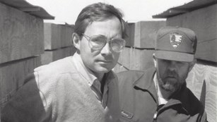 Historical architect Richard Cronenberger and Fort Union maintenance chief Orville Loomer, 1988.