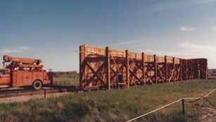 The southeast section of palisade wall under construction in 1989.