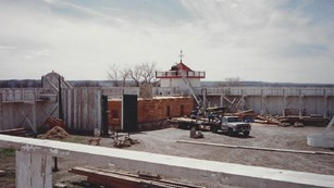 The Trade House under construction in 1991.