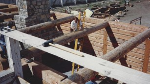 Building the Trade House roof in 1991.