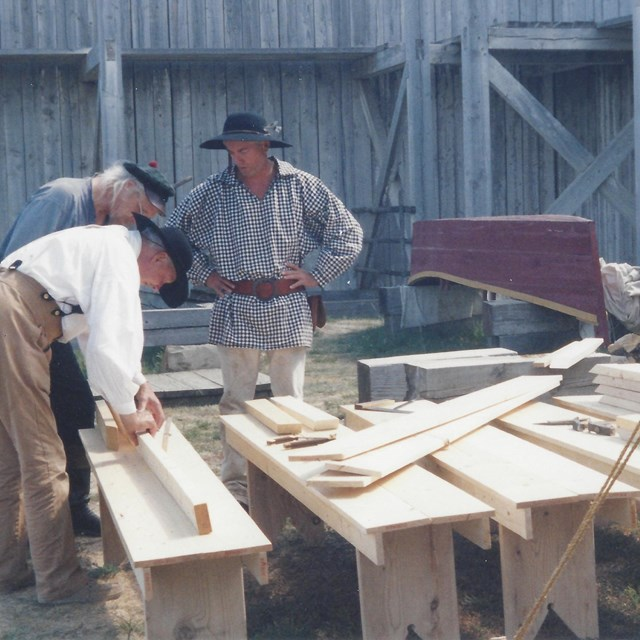 Construction of benches.