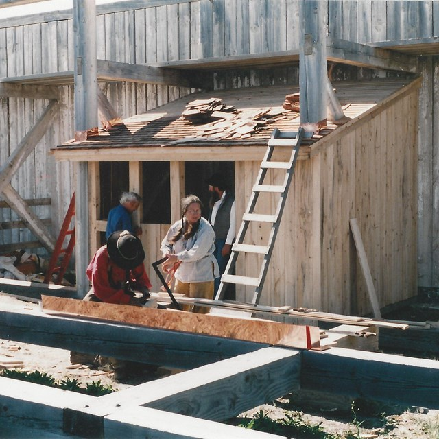 Construction of hunter's shack at Fort Union.