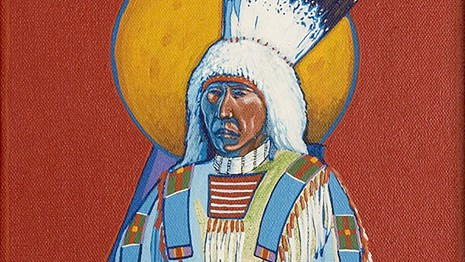 Painting of a man wearing traditional regalia.