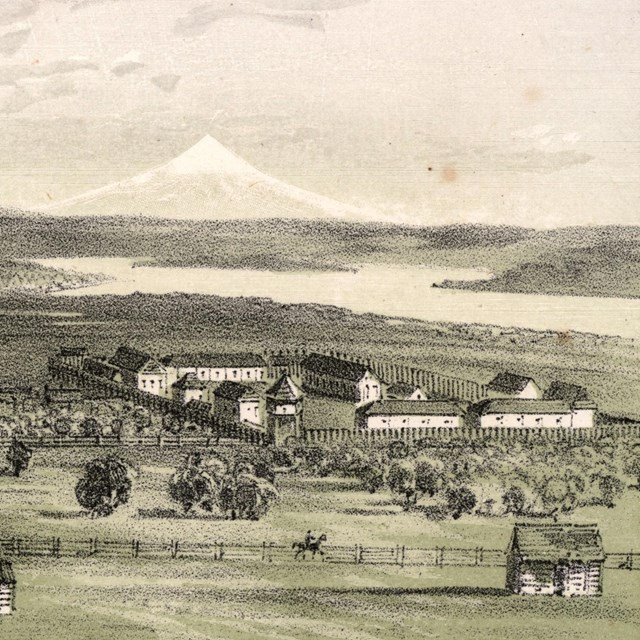 A historic lithograph by Gustav Sohon of Fort Vancouver