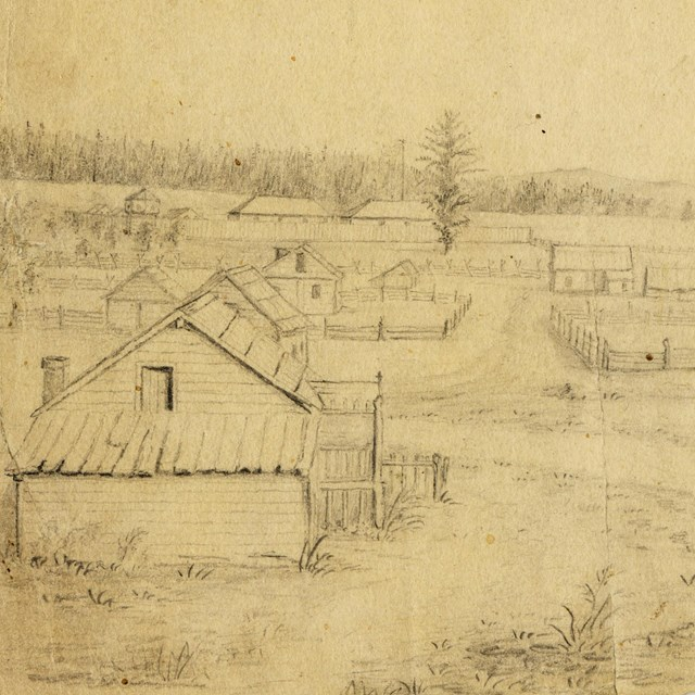 Historic drawing of the Fort Vancouver Village
