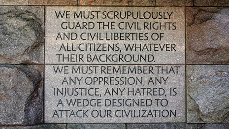 Photo of engraved quote at FDR Memorial