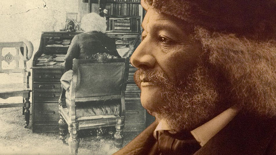 A graphic that combines two historic Frederick Douglass images