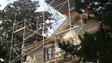Scaffolding on a historic house