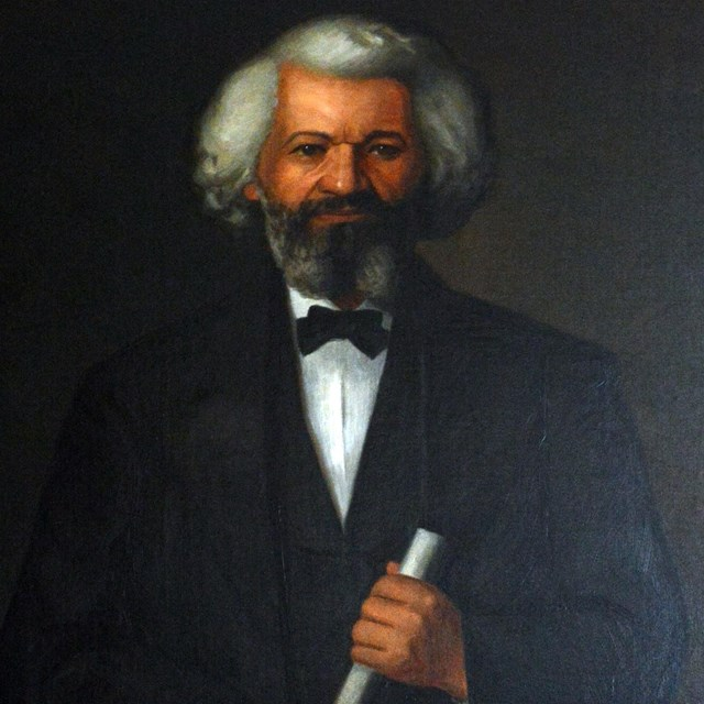 A painting of Frederick Douglass in his sixties