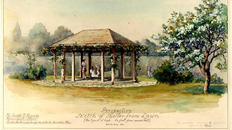 A sketch of a shelter by the Olmsted firm for the Kennedy family home in Hyannis Port, Massachusetts