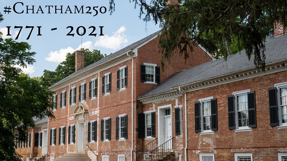 Two story brick building with text #Chatham 250, 1771-2021