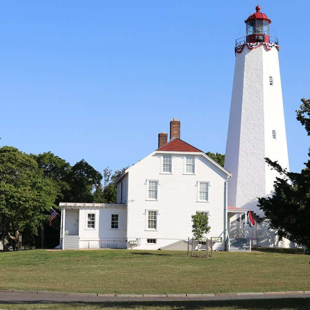 Sandy Hook Lighthouse and Keepers Quarters