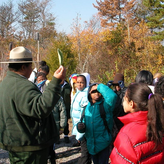 Ranger Carol with students at Jamaica Bay Wildlife Refuge