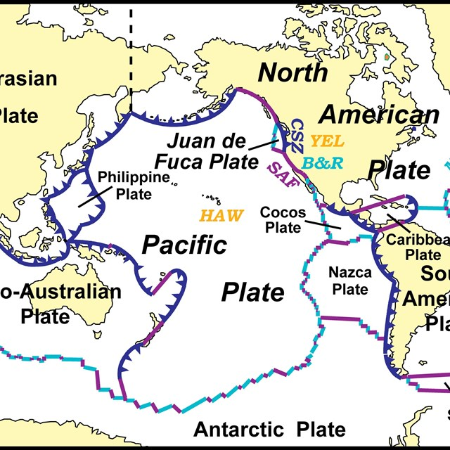 map of the world with oceans, continents, and tectonic plate boundaries