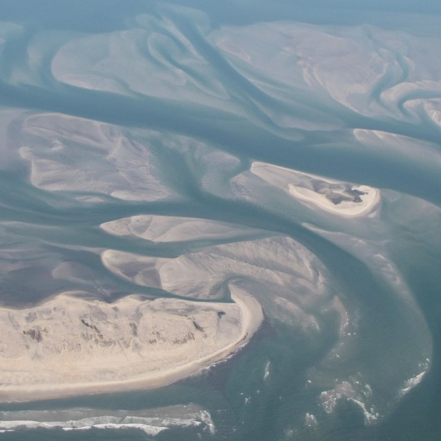 aerial view of sand bars and channels