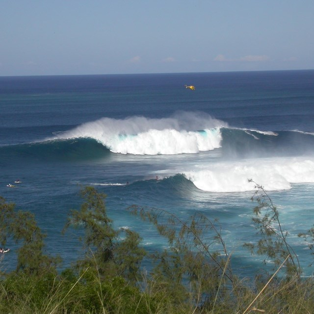 large waves breaking on offshore reef