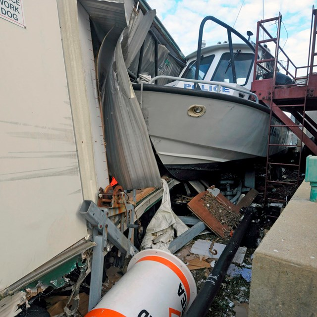 hurricane damage to park police boat
