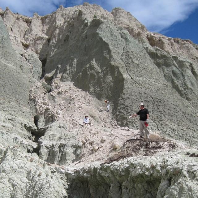 people visiting a geologic site