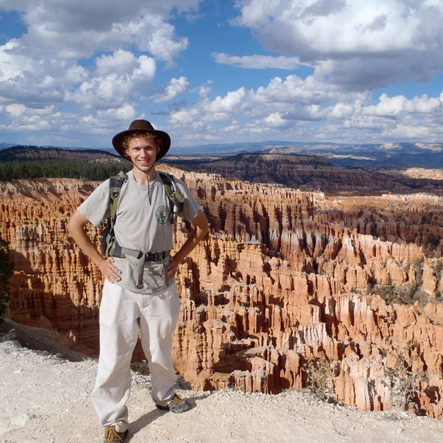 person at bryce canyon view point