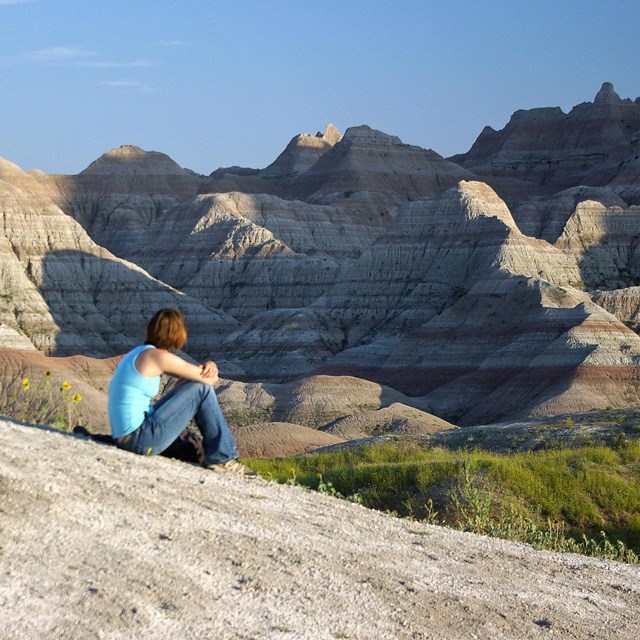 person seated looking toward eroded badlands