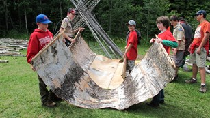 Boy scouts preparing birch bark to make a teepee