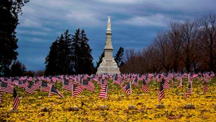 Yellow leaves on the ground and small U.S. flags fly over graves in the Soldiers' National Cemetery.