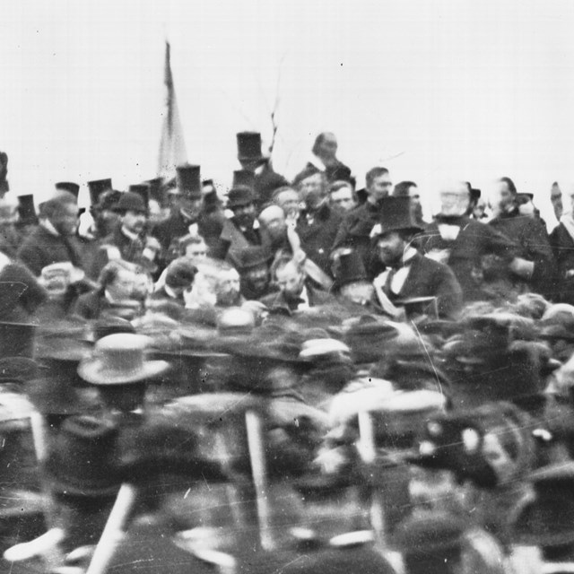The only know picture of Abraham Lincoln during the November 19, 1863 cemetery dedication ceremony.
