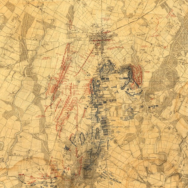 A battle map of the Gettysburg area.