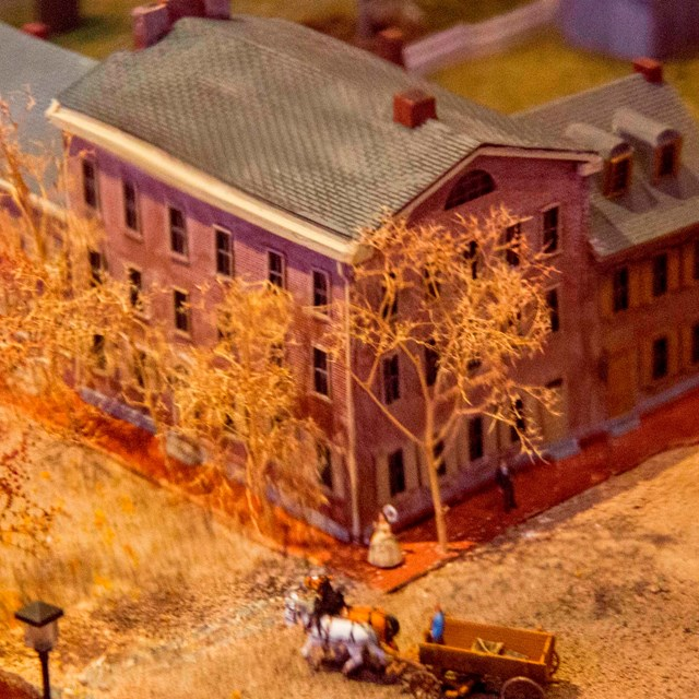 The Wills House from the diorama exhibit of downtown Gettysburg inside the Wills House.