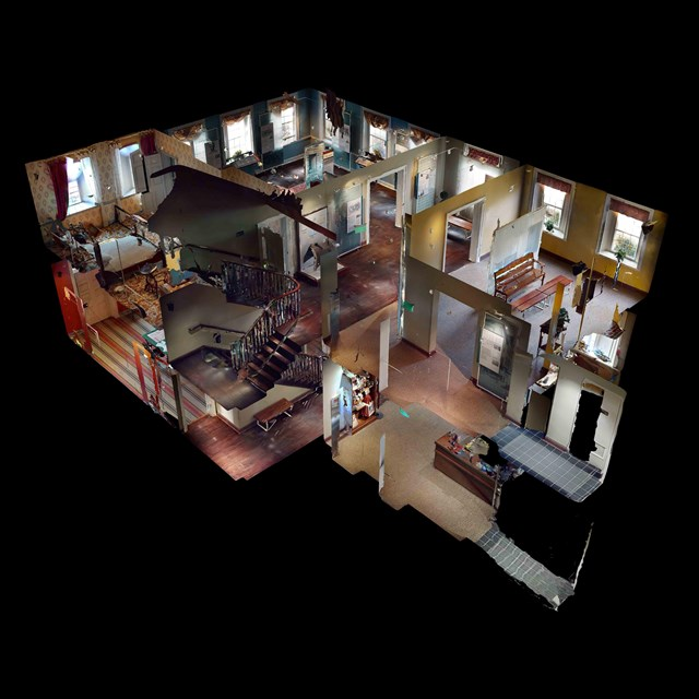 A 3D cut away view of the interior of the David Wills House.
