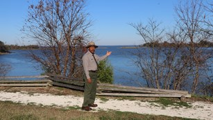 Park Ranger on cliff overlooking Popes Creek