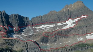 A red line outlines where a mountain glacier once was.