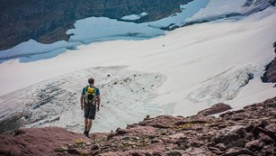 a person stands in front of a glacier