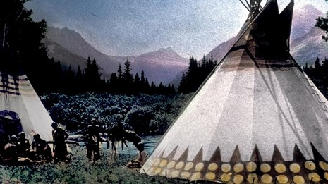 Colored lantern slide of people and tipi on lakeshore