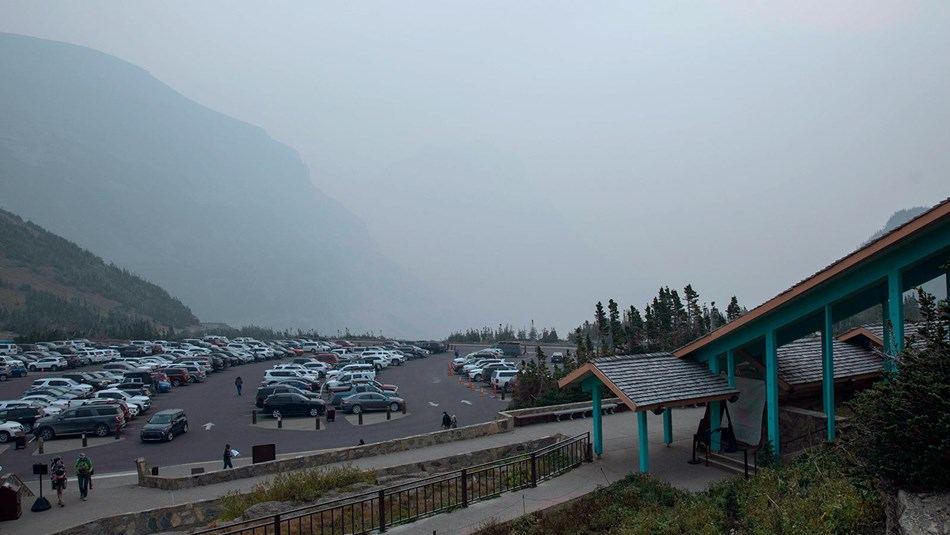 Photo of Logan Pass Visitor Center and Parking Lot on September 14, 2020