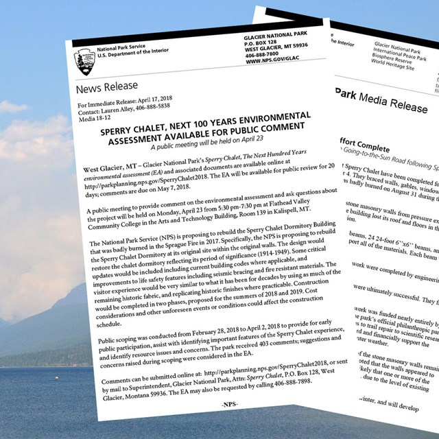 Image of the Sprague Fire with two press releases superimposed over them