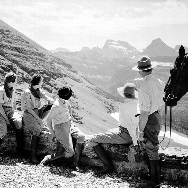 Visitors and Ranger enjoying the view from the Ptarmigan Tunnel