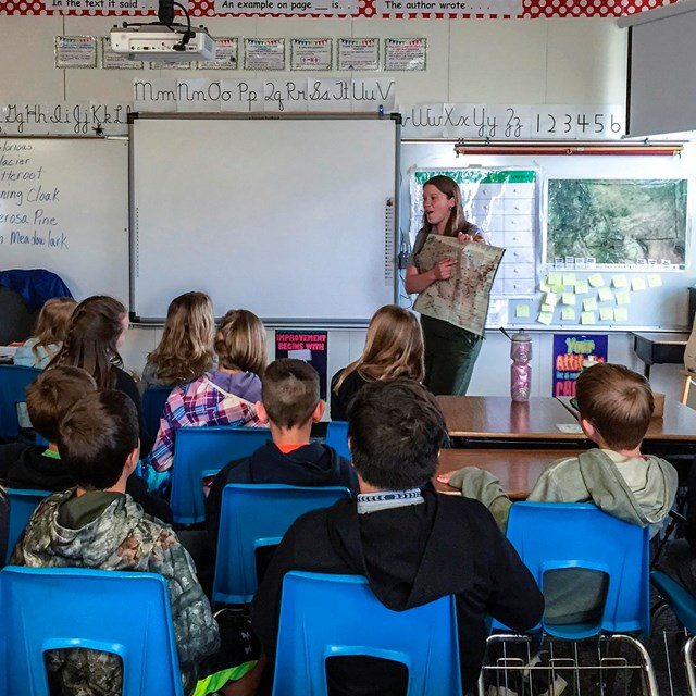 Ranger talking to a classroom of students