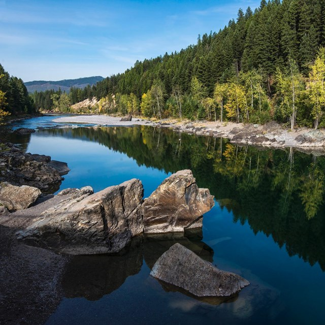 Photo of the Middle Fork of the Flathead River in late summer