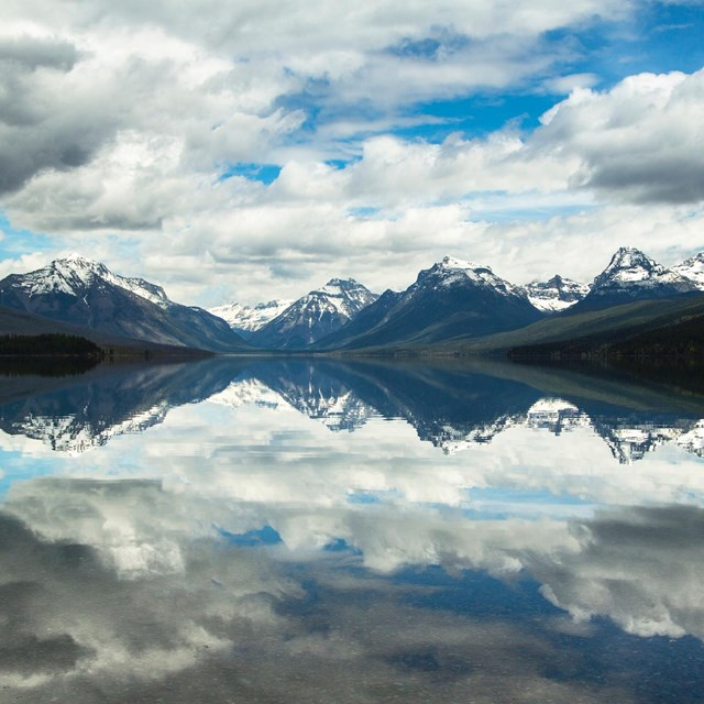 Mountains perfectly reflecting on Lake McDonald